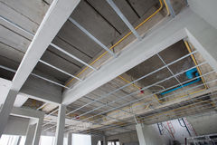 Ceiling structure of house construction site Royalty Free Stock Photos