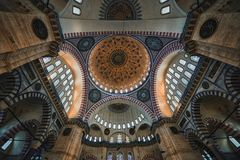 Ceiling of the Suleymaniye Camii mosque in Istanbul Royalty Free Stock Photo