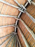 Ceiling of thatched hut stock photography