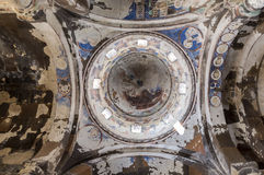 Ceiling of Tigran Honents church in Ani ancient city, Kars, Turk. Ceiling of Tigran Honents church in Ani is a ruined medieval Armenian city now situated in the Stock Photo