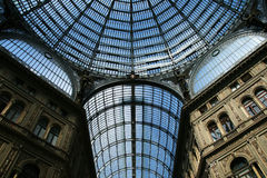 Ceiling of the umberto passage. Glass ceiling of the umberto passage in naples, italy stock photography