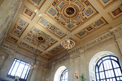 Ceiling of Union Station in Kansas City stock photo