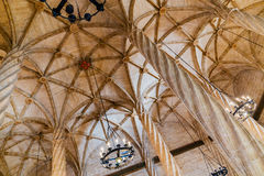 Ceiling view of the Silk Exchange in Valencia. VALENCIA -JUNE 24: Ceiling view of the Silk Exchange on June 24 2016 in Valencia, Spain. The Silk Exchange  is a Royalty Free Stock Photo