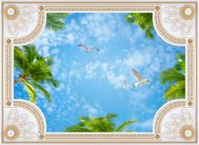 Free Ceiling Wallpapers Collage Whith Gold Molding, Sky, Palm Trees, Birds 3d Rendering Royalty Free Stock Images - 186713849