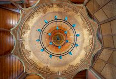 Ceiling of Whirling Dervishes Ceremony hall at the Mevlevi Tekke, Cairo, Egypt. Ornate dome of Whirling Dervishes Ceremony hall at the Mevlevi Tekke, a meeting Royalty Free Stock Photography