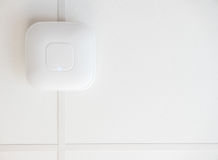 Ceiling Wifi Router. A High Speed Wifi Access Point On A Ceiling With Copy Space stock images