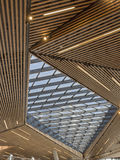 Ceiling of Wooden Slats and Glass. Stock Image