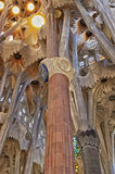 Ceilings and columns of the Sagrada Familia Cathedral in Barcelo Royalty Free Stock Photo