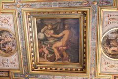 Ceilings fresco fragment in the Room of Hercules at Palazzo Vecchio, Florence, Italy. Royalty Free Stock Images