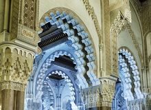 Inside The King Hassan Mosque royalty free stock photo