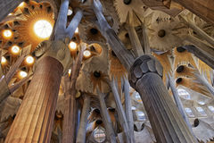 Ceilings of the Sagrada Familia Cathedral in Barcelona Stock Photos