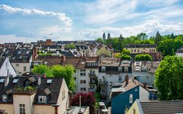Ceilings in a sunny day. View of the ceilings of Wiesbaden in Germany. Black, green and blue are awesome royalty free stock image