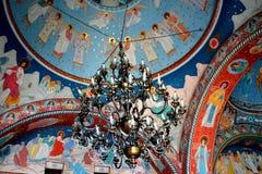 Ceilling of the monastery Sambata, Fagaras. Monastery Sambata is a Romanian Orthodox monastery in Sâmbăta de Sus, Brașov County, in the Transylvania stock photography