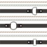 Ceinture, corde et modèle sans couture horizontal de chaîne illustration stock