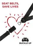 Ceinture de sécurité avec un concept rougeoyant de vecteur de coeur Photos libres de droits