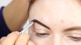 Cejas profesionales del dibujo del artista de maquillaje del cliente hermoso Belleza y concepto de la moda almacen de metraje de vídeo