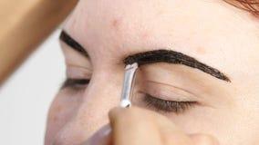 Cejas profesionales del dibujo del artista de maquillaje del cliente hermoso Belleza y concepto de la moda metrajes