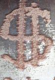 Cekinu zakończenie makro- Abstrakcjonistyczny tło z złocistymi cekinami barwi na tkaninie Z dolarowym znakiem Obraz Royalty Free