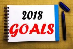 2018 celów Biznesowy pojęcie dla pieniężnego planowania, strategia biznesowa Pisać na notepad nutowego papieru tle z astronautycz Obraz Stock