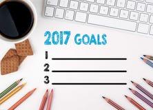 2017 celów lista, Biznesowy pojęcie target1166_0_ biznesmena biurka biurowy sieci biel Obraz Stock