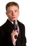 celów mężczyzna pistoletowy kostium zdjęcia stock