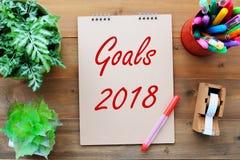 2018 celów na brown papieru nutowej książki tle, biznesowy rocznik p Obraz Stock