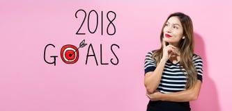 2018 celów z młodą kobietą Zdjęcie Stock