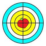 cel ikona Rewolucjonistka, kolor żółty Wektorowy mieszkanie Strategia, szyldowy symbol Fotografia Stock