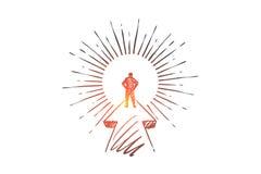 Cel, kariera, rozpoczęcie, lider, biznesmena pojęcie Ręka rysujący odosobniony wektor ilustracji
