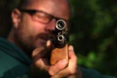 cel strzelanina z lotniczym pistoletem fotografia royalty free