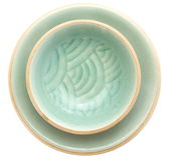 Celadon ceramic dishes Stock Photo
