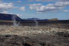 Celand på den kylde lavan ser vi att fly för fumaroles arkivbild