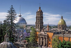 Celaya city. The silver ball of water and the Temple of San Francisco emblematic constructions in Celaya city, state of Guanajuato in Mexico Stock Photo