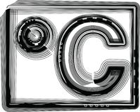 Celcius Striped Symbol. Vector Illustration of Abstract font Royalty Free Stock Photo