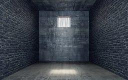 Celda de prisión con el brillo ligero a través de una ventana barrada ilustración del vector