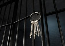 Celda de prisión con la puerta abierta y el manojo de llaves stock de ilustración