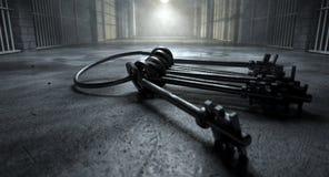 Celda de prisión con llaves fotografía de archivo libre de regalías