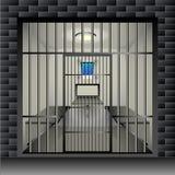 Celda de prisión Encarcele el interior interior del sitio con la parrilla y muebles de ventana stock de ilustración