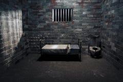 Celda de prisión oscura en la noche