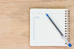 Cele dla 2016 - lista kontrolna na notepad z piórem Obraz Stock