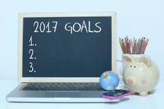 Cele dla nowego roku 2017 listy pojęcia Zdjęcie Stock