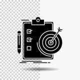 cele, raport, analityka, cel, osiągnięcie glifu ikona na Przejrzystym tle Czarna ikona royalty ilustracja