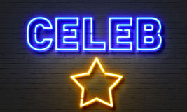 Celeb neon sign on brick wall background. Stock Photography