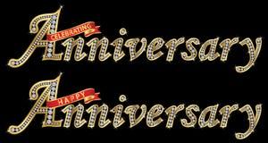 Celebarting rocznica i szczęśliwa rocznicowa złota etykietka z Obraz Royalty Free