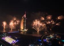 Celebração árabe da véspera de anos novos do al de Burj Fotografia de Stock Royalty Free