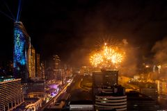 Celebração BANGUECOQUE dos anos novos do fogo de artifício, TAILÂNDIA - 31 de dezembro, Fotos de Stock