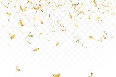 A celebração brilhante de queda dos confetes do brilho do ouro, serpenteia isolado no fundo transparente Ano novo, aniversário