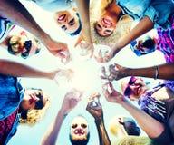 Celebração Champagne Looking Down Friends Concept Imagem de Stock