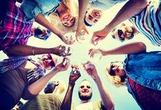 Celebração Champagne Looking Down Friends Concept Foto de Stock