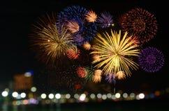 A celebração colorida dos fogos-de-artifício e a noite da cidade iluminam o backgrou Fotografia de Stock